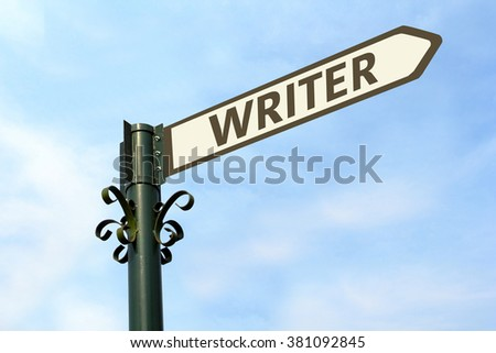 WRITER WORD ON ROADSIGN - stock photo