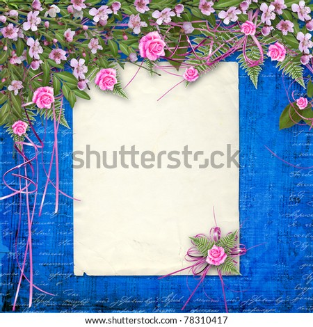 Writing abstract background with paper and floral beautiful bouquet - stock photo