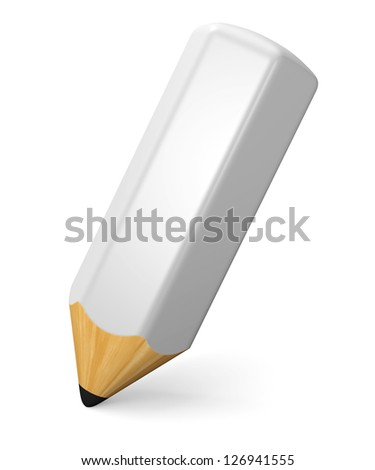 Writing and drawing concept. White pencil isolated on white background. 3d illustration. - stock photo