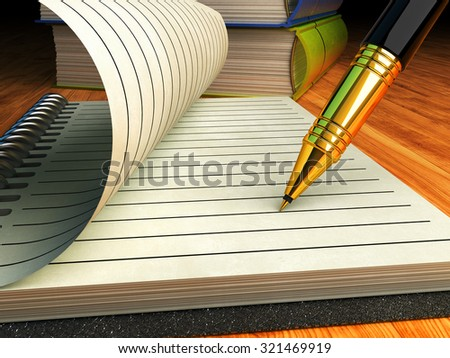 Writing and education, signing contract or agreement business concept, close-up view of an empty notebook paper page, pen and books on wooden table - stock photo