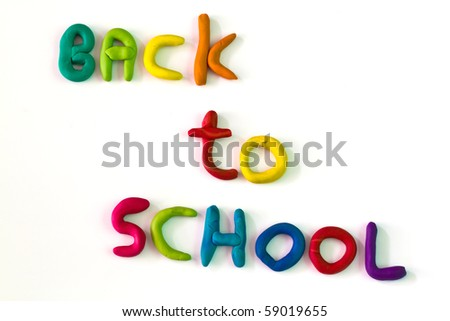 "Writing ""ฺBack  to School"" from colorful clay"