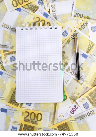 Writing-book is on the banknotes 200 euros