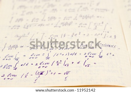 Writing-book on higher mathematics with formulas - stock photo