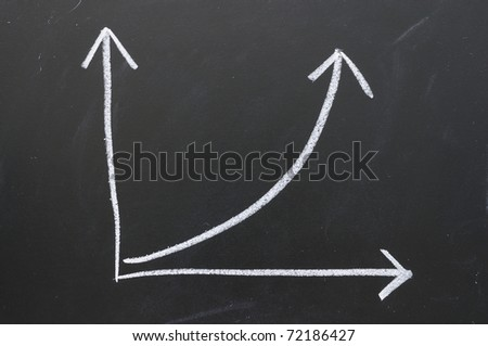 Writing chalk color chart shows an increase in business. - stock photo