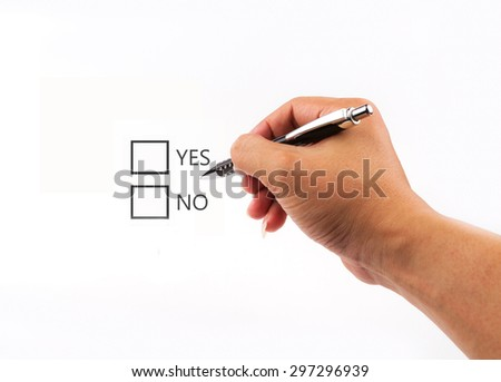 Writing checklist with the options of yes or no on blank screen.