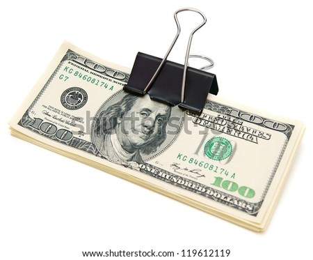 Writing clip with dollars. On a white background. - stock photo