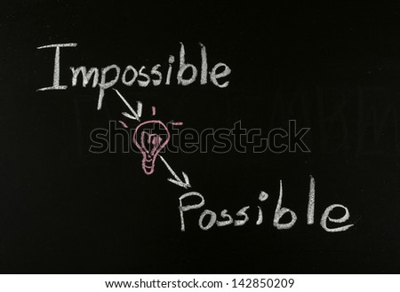 writing concept impossible to possible on blackboard - stock photo