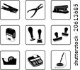 writing desk objects silhouettes (also available in vector format) - stock photo