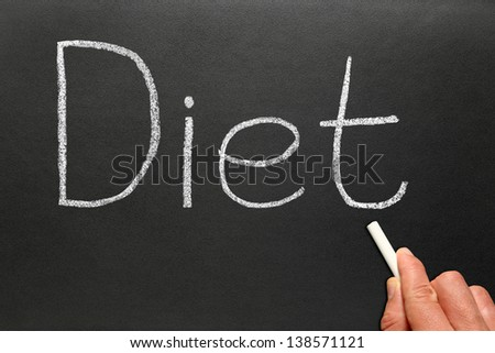 Writing diet with chalk on a blackboard.
