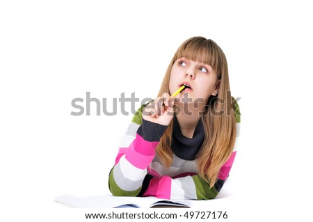 writing dreaming laying sweet teen girl over the white - stock photo