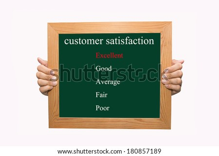 Writing evaluate excellent on customer satisfaction concept  - stock photo