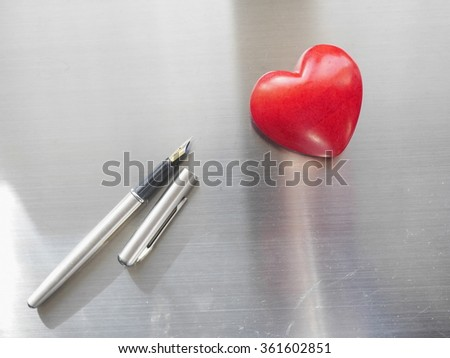writing for valentine's day. - stock photo