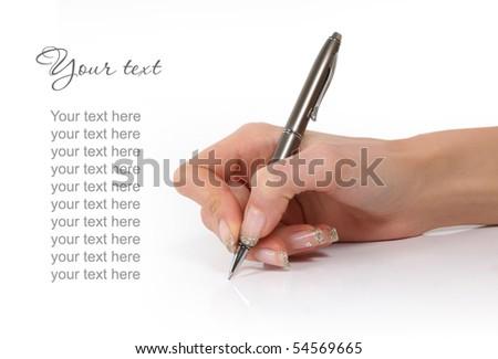 writing hand on white background - stock photo