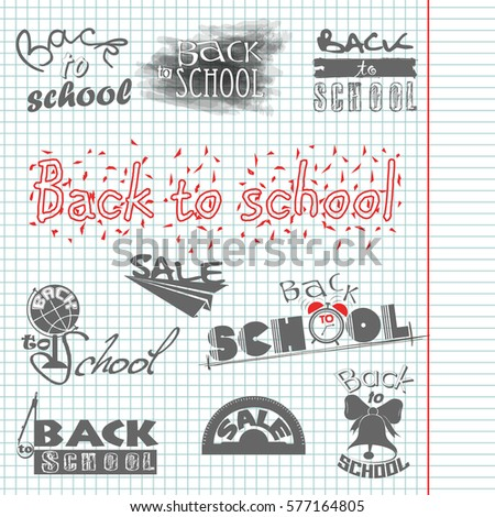 Writing in a notebook. Back to School. Calligraphic designs. Sale. Set