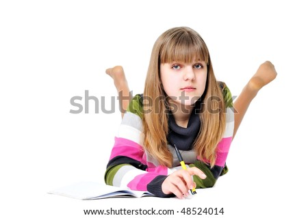 writing laying sweet teen girl over the white - stock photo