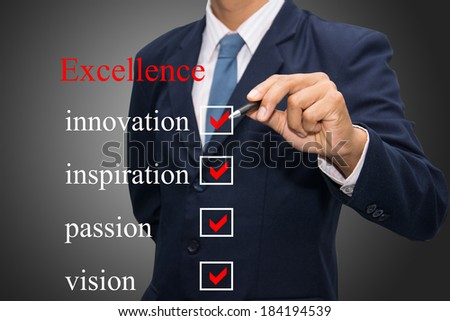 Writing life excellence concept.