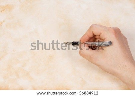 writing male hand pen on paper