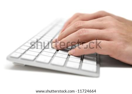 Writing on a Grey Keyboard - stock photo