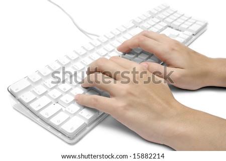 Writing on a White Computer Keyboard - stock photo