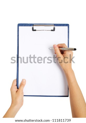 writing on clipboard, isolated on white background - stock photo