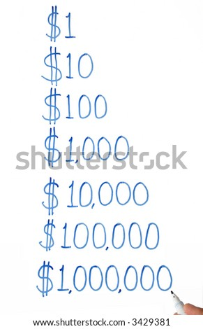 Writing one dollar to one million dollars on a white board. - stock photo