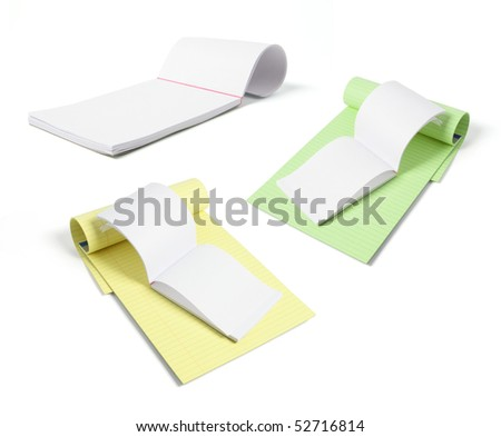 Writing Pads on Isolated White Background