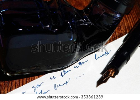 Writing paper and fountain pen - stock photo