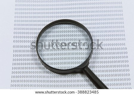 writing password. Abstract Matrix Background. Binary Computer Code and magnifying glass. Coding and Hacker concept.  - stock photo