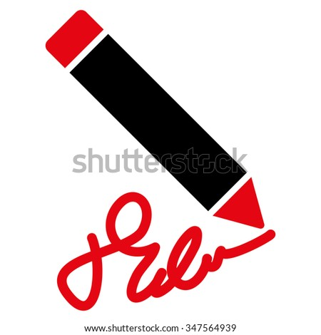 Writing Pencil glyph icon. Style is bicolor flat symbol, intensive red and black colors, rounded angles, white background.