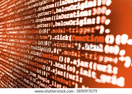 Writing program code on computer. Programming code abstract screen of software developer. Computer program. Website development. (Code is my own property there is no risk of copyright violations) - stock photo