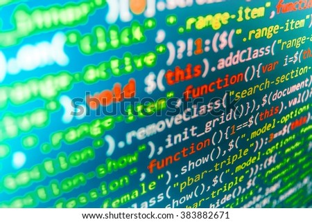 Writing program code on computer. Source code photo. Website programming code. Software background. Monitor photo. (Code is my own property there is no risk of copyright violations) - stock photo