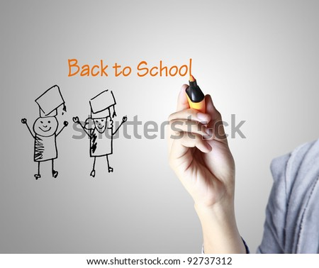 writing something on glass board , Education - stock photo