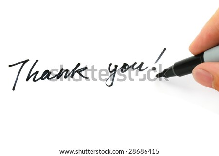 "Writing ""Thank you!"" on the white - stock photo"