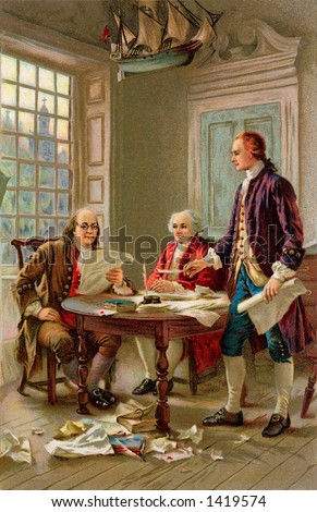 Writing the Declaration of Independence, 1776. Benjamin Franklin, John Adams and Thomas Jefferson review a draft of the Declaration of Independence, by J.L.G. Ferris. From a 1909 litho by Wolf & Co. - stock photo