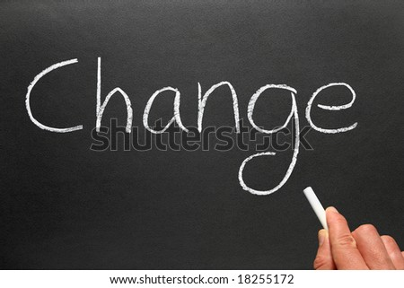 "Writing the politically popular word ""Change"" with chalk on a blackboard."