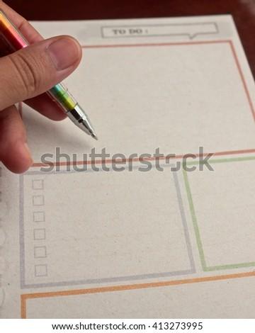 Writing to do list - stock photo