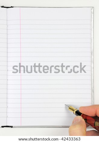writing with fountain pen on blank notepad - stock photo