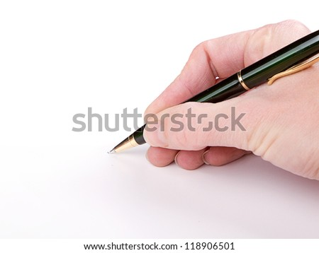 Writing with pen on a white background
