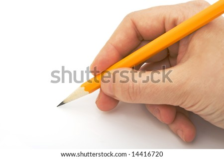 writing with pencil isolated against white background - stock photo