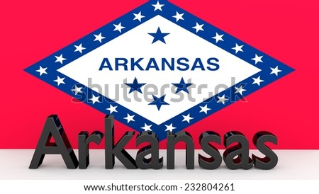 Writing with the name of the US state Arkansas made of dark metal  in front of state flag - stock photo