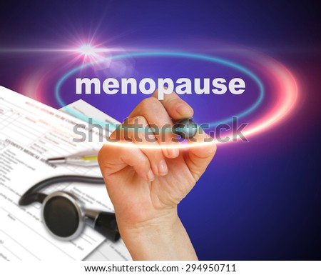 writing word  MENOPAUSE with marker on gradient background made in 2d software - stock photo