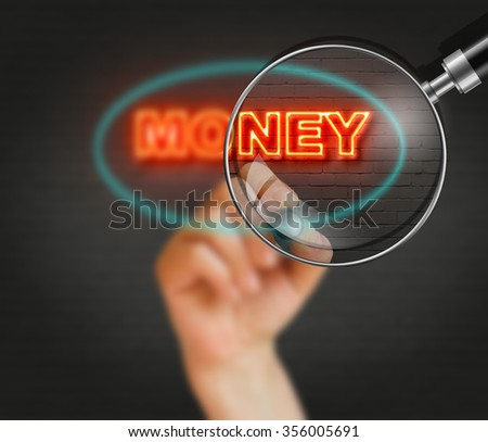 writing word money with marker on wall background made in 2d software - stock photo