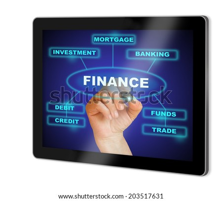 writing  words FINANCE  show  on tablet  made in 2d software isolated on white - stock photo