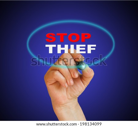 writing words ' STOP THIEF ' on white background made in 2d software - stock photo