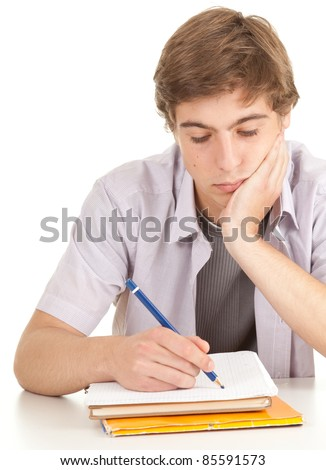writing young male student with books, series - stock photo