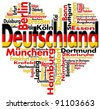 Written Germany and german cities with heart-shaped, german flag colors - stock vector