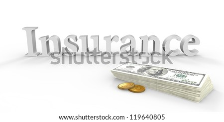 Written insurance and stack of banknotes next - stock photo