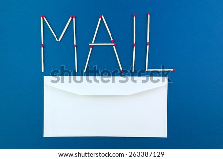 Written mail made with matchstick - stock photo