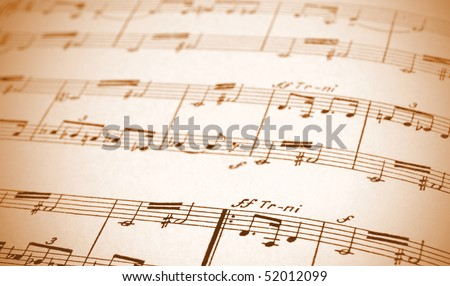 Written Music Notation Sheet In Sepia notes - stock photo