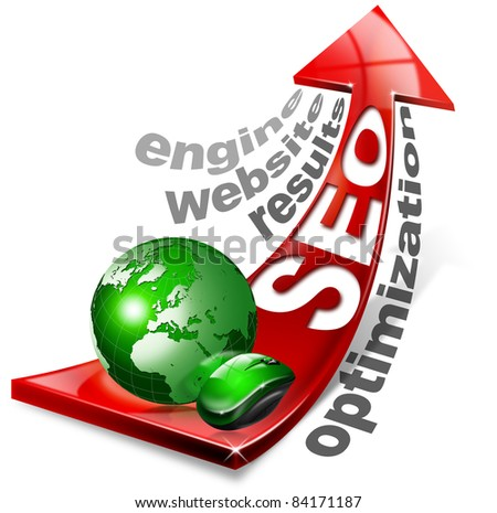 Written S.E.O. with red arrow and globe, mouse and written: optimization, results, website, engine - stock photo